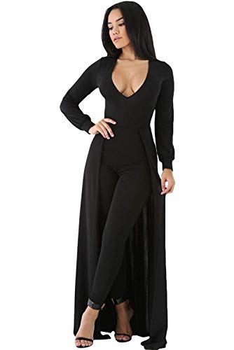 OUR WINGS Women Fashion Black Maxi Skirt Overlay Elegant Party Jumpsuit L