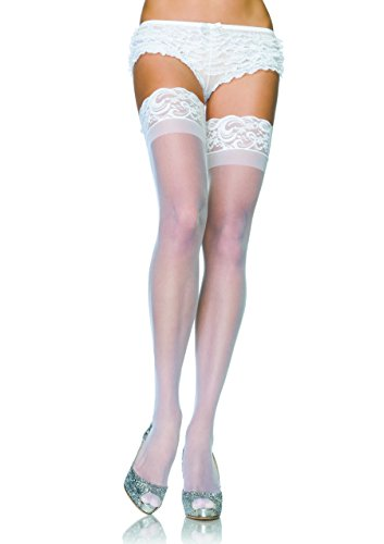 Lace Thigh High Bustier (Stay Up Lycra Sheer Thigh High (White;Plus Size))