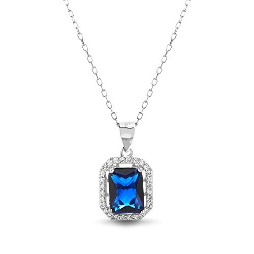(INSPIRED BY YOU. Emerald Cut Prong Set Simulated Blue Sapphire and Cubic Zirconia Bridal Necklace for Women in Rhodium Plated Sterling Silver)