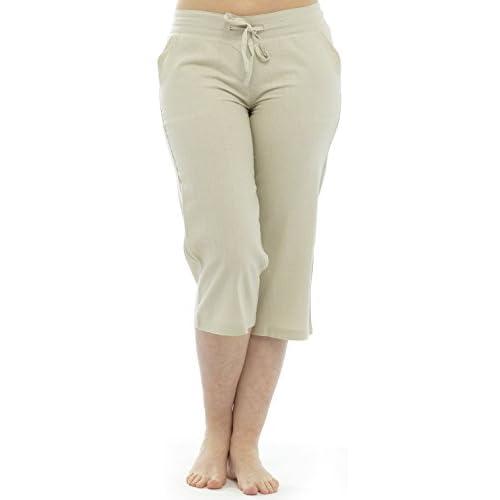 f09421fa5 mejor Tom Franks Pantalones piratas para mujer 100% lino y algodón para el  verano,