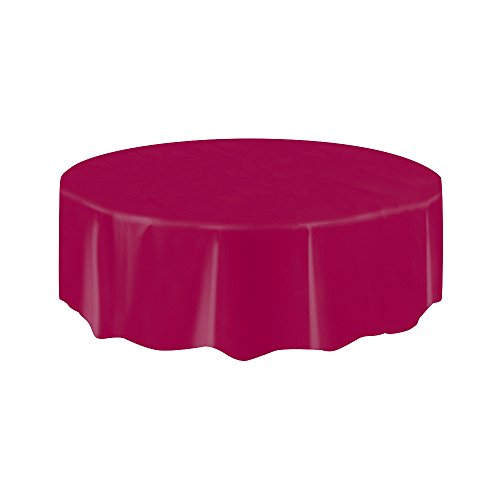 Round Burgundy Plastic Tablecloth 84