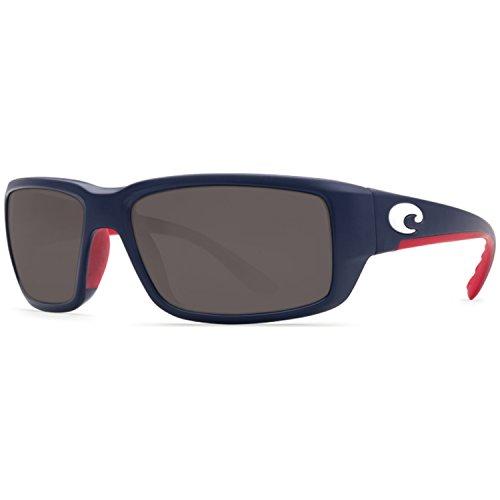 Costa del Mar Men's Fantail Polarized Rectangular Sunglasses, USA Blue Framegray 580P, 58.9 - 580 Costa Fantail