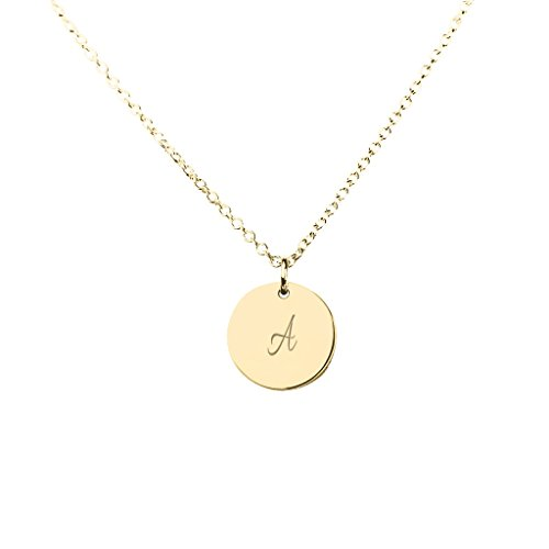 TSD 14K Yellow Gold Small Initial Disc Pendant with a 16