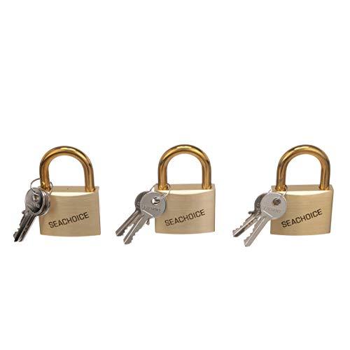 - Seachoice 37331 Solid Brass Padlocks with Engraved Seachoice Logo - Set of 3 Keyed Alike