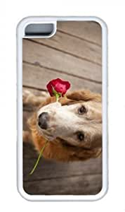 Dog with rose POP Custom Rubber(TPU) white Case for Masterpiece Limited Design iphone 5C by Cases & Mousepads