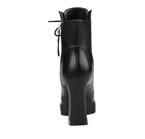 Premium tacones estrecha 4U® Estilo punta Casual Zapatos 9 cremallera Best Shoeslace 5CM mujer Rojo Warm de PU borla Negro altos black Botines IwSSBqA