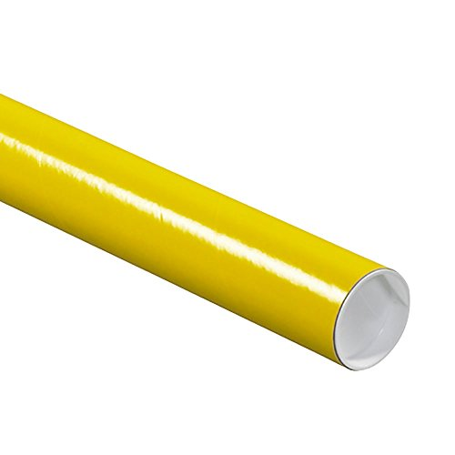 "RetailSource P2024Yx25 2 x 24"" Yellow Mailing Tubes with Caps (Pack of 25)"