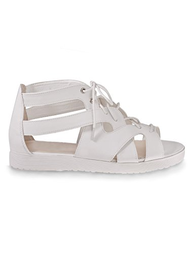 Ladies Womens Gladiator Chunky Cleated Sole Platform Summer Sandals Shoes Size WHITE FAUX LEATHER / LACE UP bZTlLP5