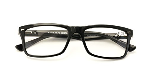 V.W.E. Men Gloss Black Rectangle Rectangular Reading Glasses Wide fitment. (Black, - Wide Glasses Frame Reading