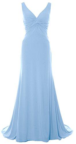 MACloth Women Mermaid V Neck Jersey Evening Gown Cowl Back 2017 Long Prom Dress Cielo azul