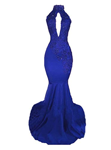alilith.Z Sexy High Neck Long Mermaid Prom Dresses Backless Beaded Appliques Lace Evening Dresses for Women 2019 Royal Blue ()