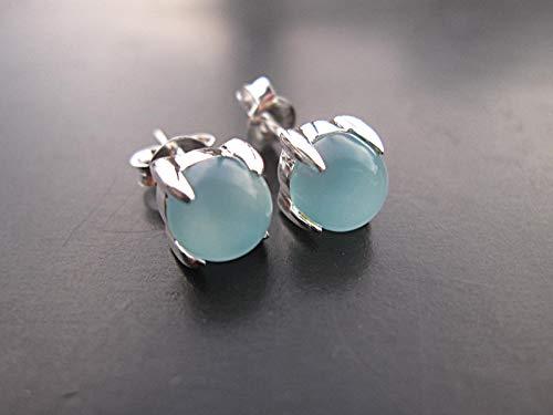 Aqua Quartz Earrings - Size 6 mm,Aqua Blue Chalcedony Stud Earrings, 925 Sterling Silver,ESAQB1