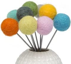 Chive – Blomma – Modern, Fun, Colorful, Decorative Artificial Flowers, Wool Pom Poms to Fill Your Flower Vases, 12 Piece Bulk Pack