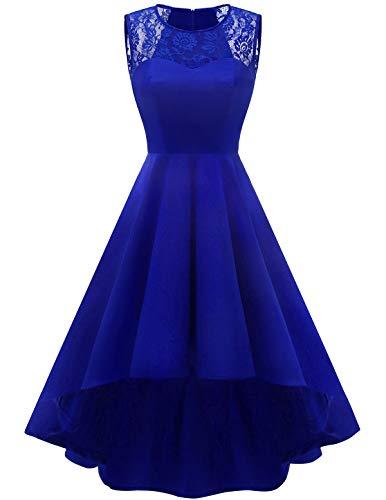 Homrain Women's Vintage Elegant Lace Sleeveless Hi-Lo Cocktail Prom Party Swing Dress RoyalBlue M
