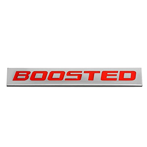 UrMarketOutlet BOOSTED Red/Chrome Aluminum Alloy Auto Trunk Door Fender Bumper Badge Decal Emblem Adhesive Tape Sticker