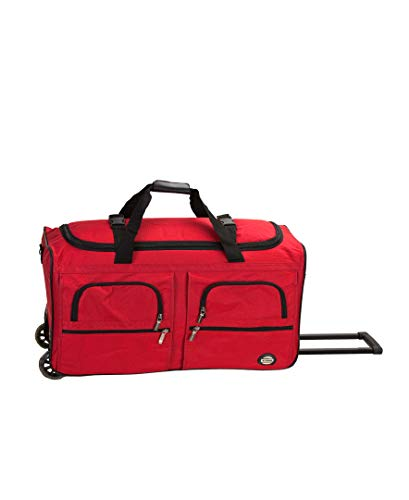 (Rockland Luggage 36 Inch Rolling Duffle Bag, Red, Large)