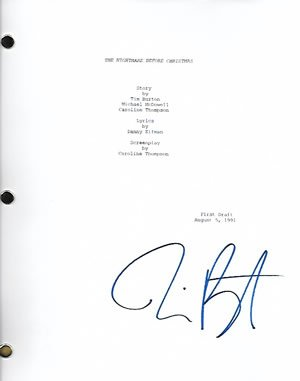 Tim Burton Signed In-person Nightmare Before Christmas Movie Script