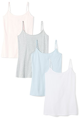 Amazon Essentials Women's 4-Pack Camisole, Light Grey Heather/White/Light Pink/Light Blue, X-Large