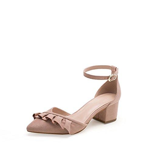 PUMPS Sandale,ein Wort Schnalle mit Spitzen Schuhen,mit Klobigen Heels Schuhe-A Fußlänge=21.8CM(8.6Inch)