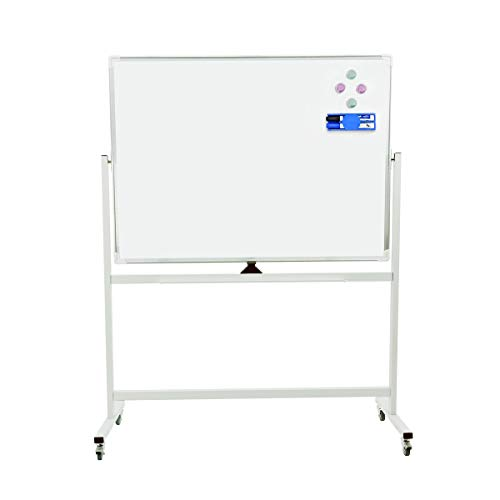 (Double-Sided Mobile Magnetic Dry Erase Board with Stand, Quick Flip Over Reversible Feature (48