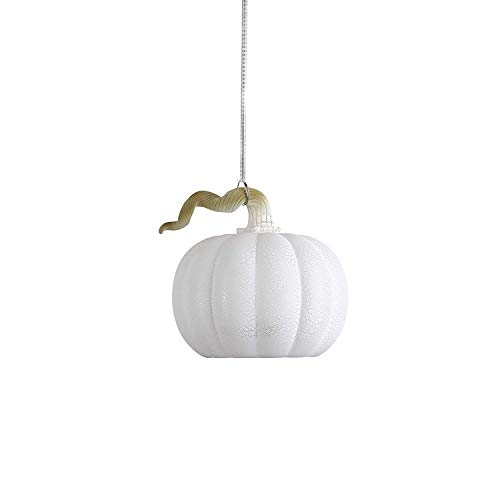 Anvehu Ornaments White Pumpkin Gourd Lantern Ornament Crackled Glass Design with LED Lights for Fall Autumn Halloween & Thanksgiving Decorations Includes Removable Hanging Spiral Chain ()