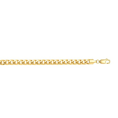 14k Yellow Gold 8.5 Inch Polish Finish Semi-solid Miami Cuban Bracelet by Diamond Sphere