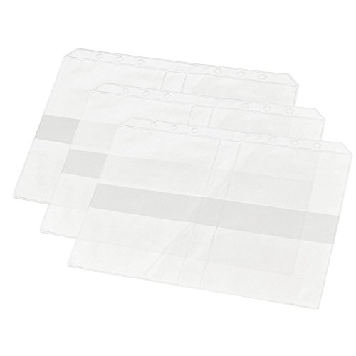 D-worthy 7 pcs Translucent Plastic A5 Size Ziplock Envelope Case Bill Pouch 3 pcs Pockets Name Card Bag with 1pcs 6 Hole Round Ring Binder Cover