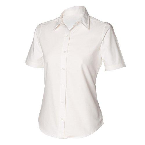Henbury Womens/Ladies Short Sleeve Classic Oxford Work Shirt (M) (White)