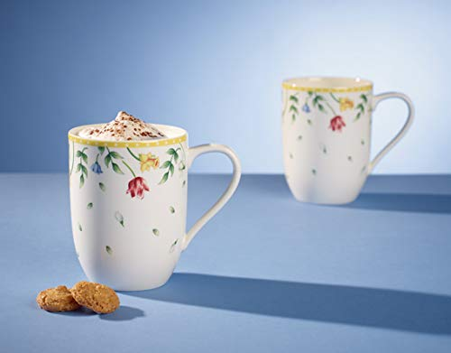 Villeroy & Boch Spring Awakening Coffee Mug Flower Meadow, Set of 2, 340 ml, Premium Porcelain, Yellow/Green/Red