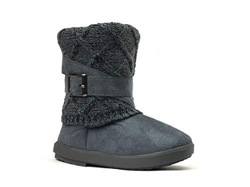 - REDVOLUTION Kids Boots Toddler Girls Cute 2 Buttons || Rhinestone Faux Fur Suede Knitting Shoe | (Toddler 10, 2018 Grey)