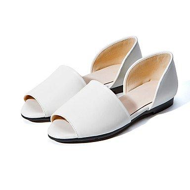 Blanco Otro Informal Tacón Vestido Negro White LvYuan PU Mujer Sandalias Exterior Plano tFFfwqv