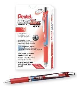 - Pentel EnerGel RTX Roller Ball Retractable Gel Pen, Needle, Red, Medium