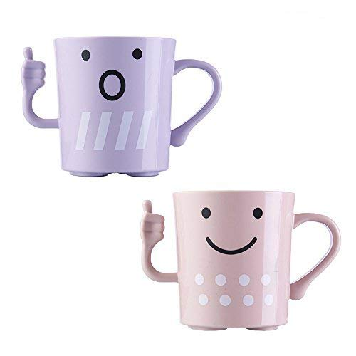 (CRIVERS 2pc Cute Tooth Mug/Tooth-Brush Cup, Cartoon-Style Toothbrush Holders Bathroom Tumbler/Gargle Cup/Rinse Mug with Unique Thumbs-up Handle for Kids Couple Lovers (Pink+Purple))