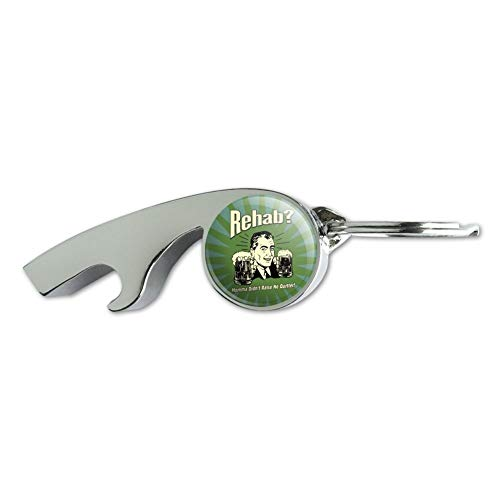 Rehab Momma Didn't Raise No Quitter Funny Humor Retro Chrome Plated Metal Whistle Bottle Opener Keychain Key Ring