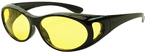 Small Black Wrap Around Fit Over Sunglasses w/ Yellow Night Driving Lenses