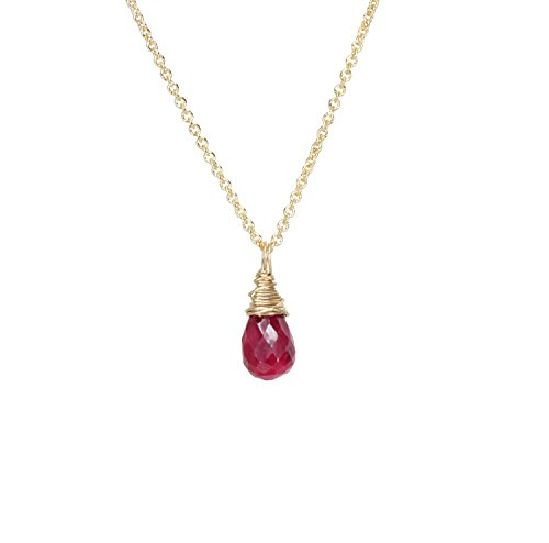Genuine Dainty Ruby Gemstone Teardrop Pendant Solitaire Necklace Gold- July Birthstone