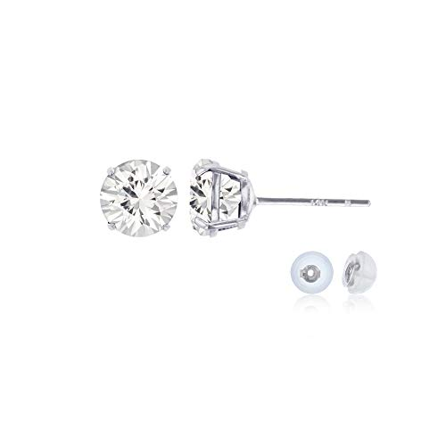 Genuine 14K Solid White Gold 4mm Round Clear White Sapphire Birthstone Stud Earrings ()