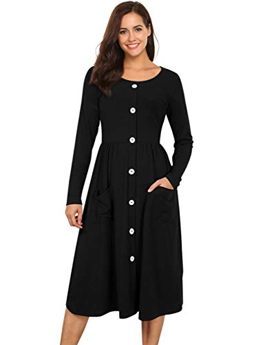 923bbddc3e GloryStar Casual Long Sleeve Vintage Dress A-line Swing Dresses for Women  Midi Dress with