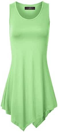 MBJ Womens Sleeveless Comfy Tunic Tank Top with Various Hem - Made in USA