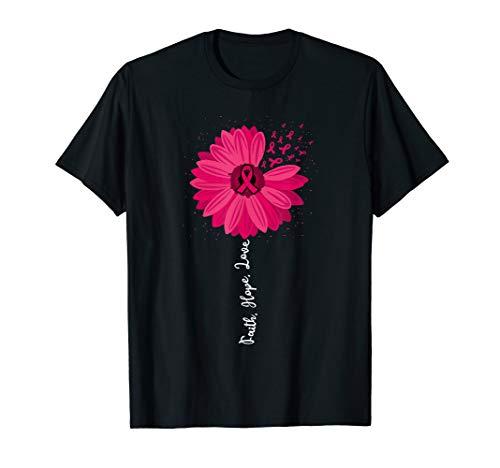 (Faith Hope Love Pink Ribbon Daisy Flower : Breast Cancer T-Shirt )