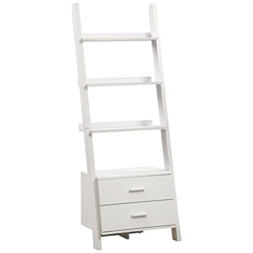 Monarch Specialties I 2562 Bookcase Ladder With 2 Storage Drawers White 69H