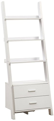 Monarch Specialties I 2562, Bookcase, Ladder with 2-Storage Drawers, White, 69
