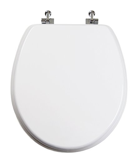 - TOPSEAT Round Toilet Seat w/Chromed Metal Hinges, Wood, White