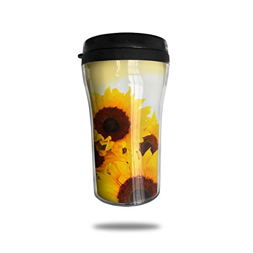 FTRGRAFE Sunflowers Closeup Travel Coffee Mug 3D Printed Portable Vacuum Cup,Insulated Tea Cup Water Bottle Tumblers for Drinking with Lid 8.54 Oz (250 Ml)
