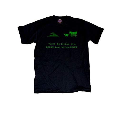 Oregon Trail WAGON DOWN by the RIVER Black T-Shirt Tee