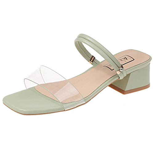 GHrcvdhw Summer Women Shoes Roman Style Wedge Thick with Square Toe Shallow Solid Color Leisure Stylish Sandals Green ()