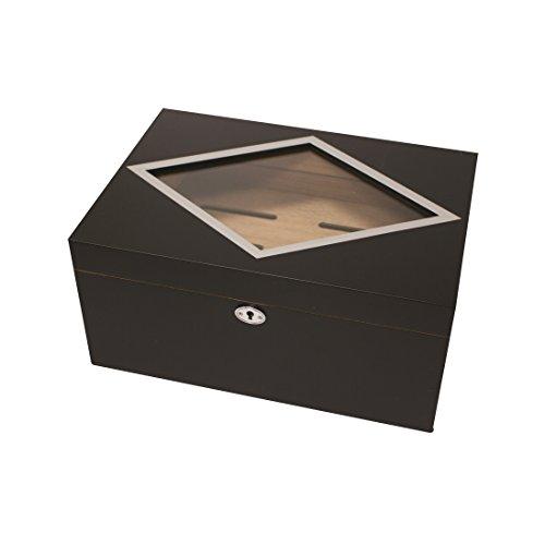 Beautiful Dublin Desktop Glasstop Cigar Humidor Holds up to 100 Cigars
