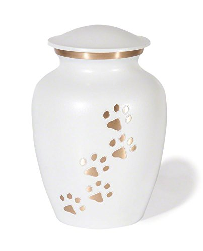 Classic Series Pet Cremation Urn (Small, Cloud White Vertical Brass Paws) by Best Friend Services