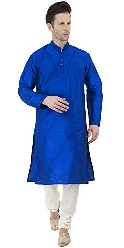 (SKAVIJ Men's Tunic Kurta Pyjama Set Party Wear Ethnic Wear Dress (Medium, Blue))