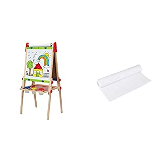 """Hape Award Winning All-in-One Wooden Kid's Art Easel with Paper Roll and Accessories & Hape Art Paper Roll Replacement for Kid's Art Easel Paper- 15""""X 787"""""""